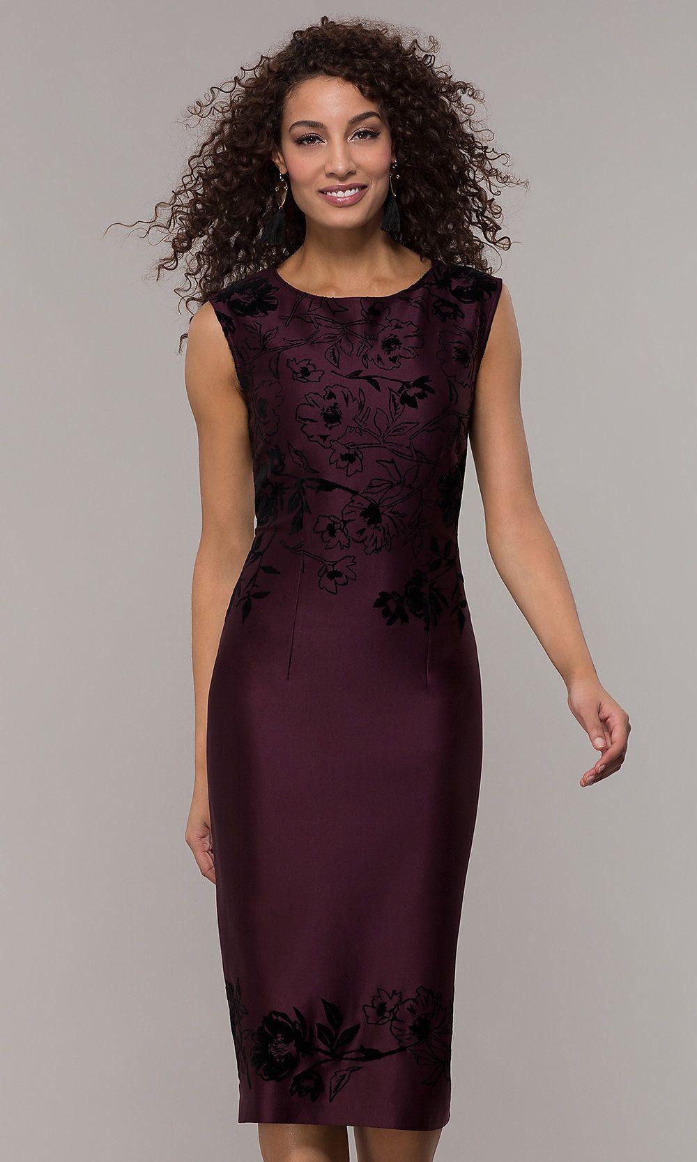 Knee Length Sheath Fig Purple Wedding Guest Dress In 2020 Purple