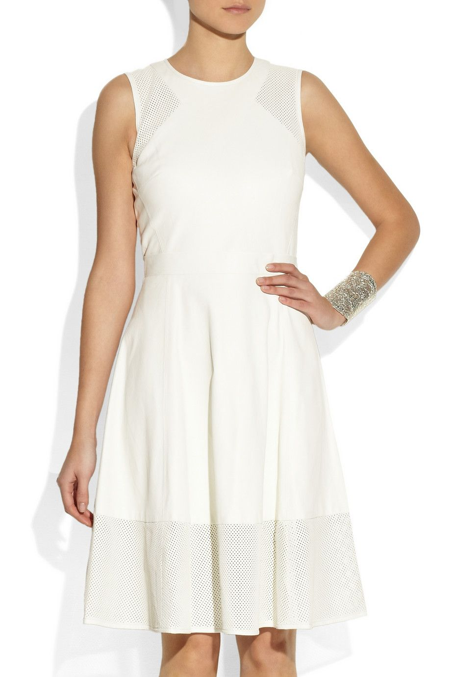 Off White Perforated Panel Leather Dress Dkny White Leather Dress Dresses Leather Dress [ 1380 x 920 Pixel ]