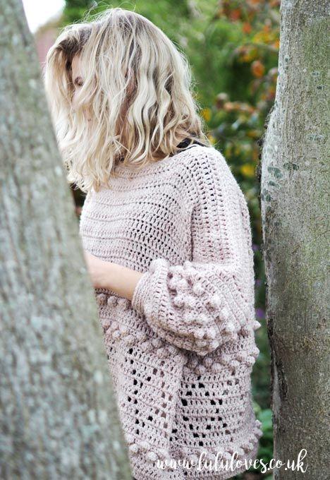 Lululoves Blog   Diamonds and Bobbles crochet jumper pattern by Emma ...