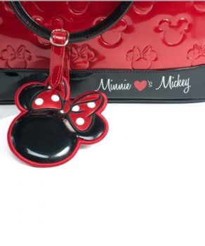 #Mickey and Minnie Red Patent Embossed Detail Tote Handbag