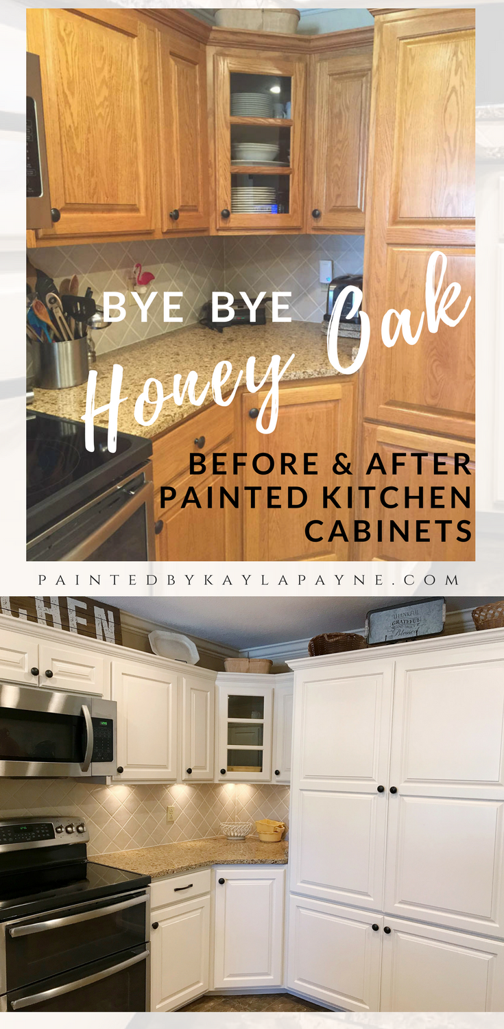 Bye Bye Honey Oak Kitchen Cabinets Hello Brighter Kitchen Kitchen Cabinets Before And After Kitchen Cabinets Painting Wood Cabinets