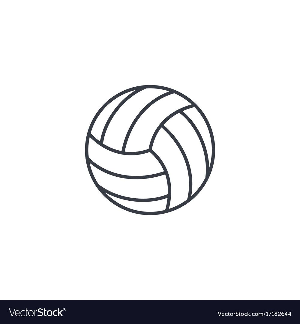 Volleyball Ball Thin Line Icon Linear Royalty Free Vector Aff Thin Line Volleyball Ball Ad Vector Free Volleyball Tattoos Web Icon Vector
