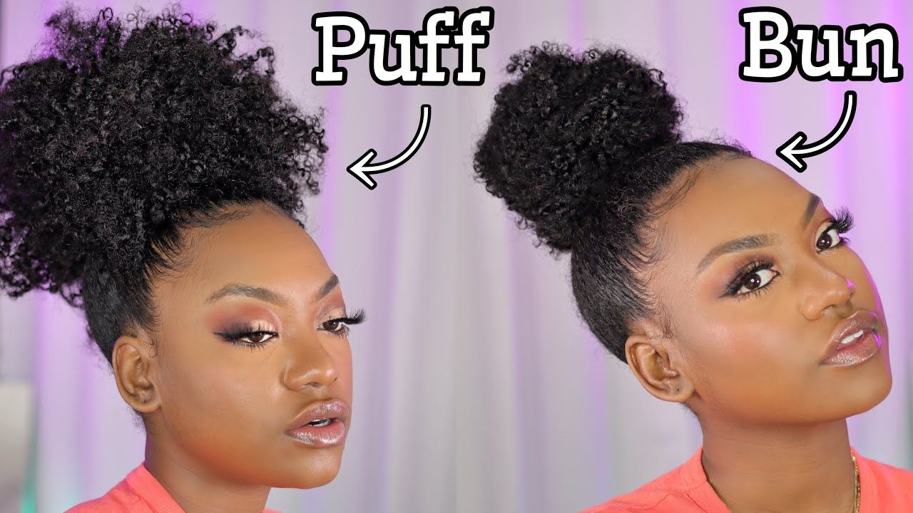 Updated Curly Top Knot Bun Curly Puff On Natural Hair In 2020 Curly Top Knot Natural Hair Puff Natural Hair Bun Styles