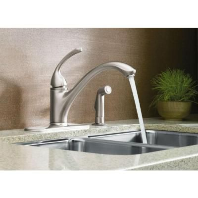 KOHLER Forte 4 Hole Single Handle Side Sprayer Kitchen Faucet In Vibrant Brushed  Nickel K 10412 BN At The Home Depot