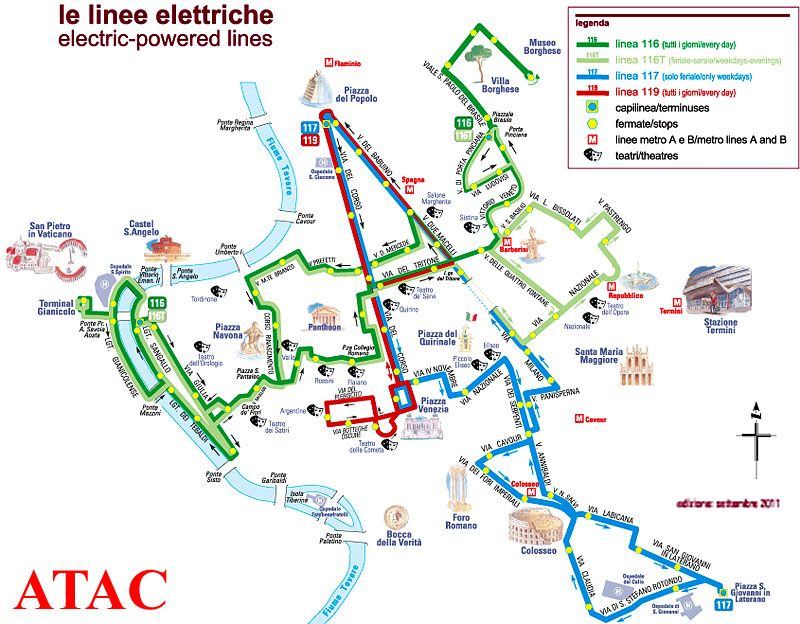 exc bus map rome electric bus routes map of city center