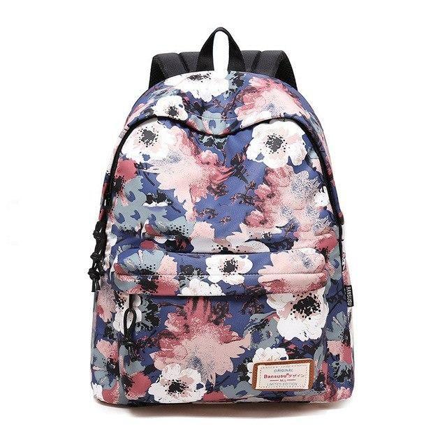 0293e12ce712 Brand 2019 Daily Women Backpack For School Teenager Girls Flowers ...