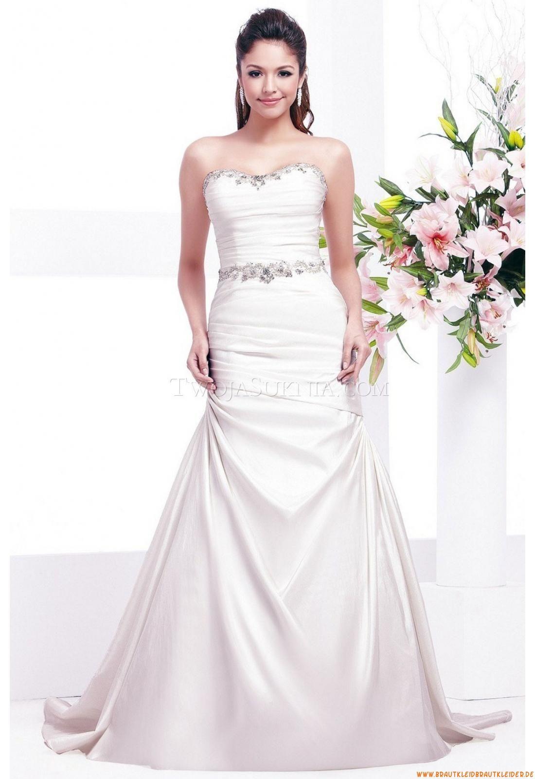 Herz-neck Bodenlang Einfach Schlichte Preiswerte Brautkleider ...