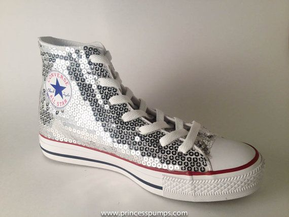 711937e855e3 Silver Sequin Converse All Star Hi Top by princesspumps on Etsy ...