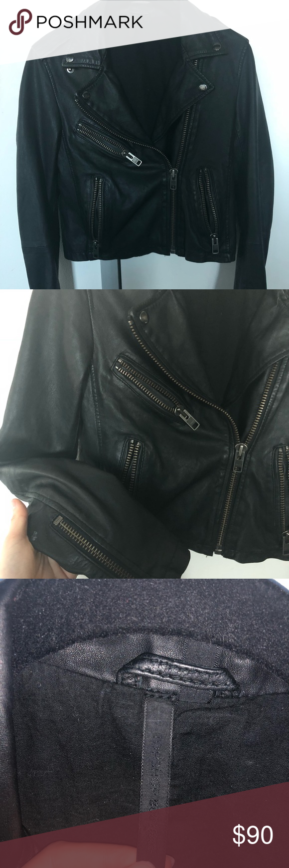 REAL LEATHER JACKET Top shop boutique leather jacket. So