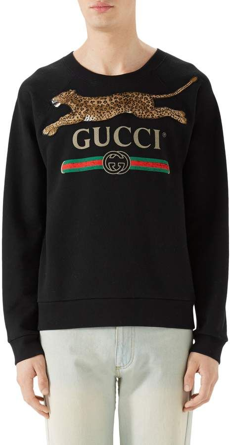 575c3924893 Gucci Cheetah Applique Logo Sweatshirt Vintage Gucci