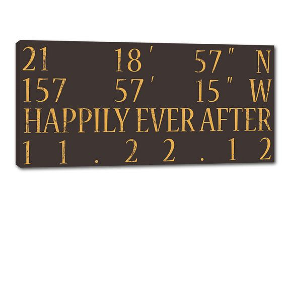Nice Wedding Gift Ideas: His And Her Custom Coordinates With Date On Canvas