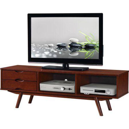 Techni Mobili Elegant Wood Veneer 65 inch TV Stand with Storage