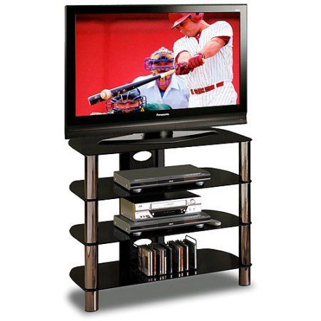 TechCraft Glass Top TV Stand, for TVs up to 37 inch, Black