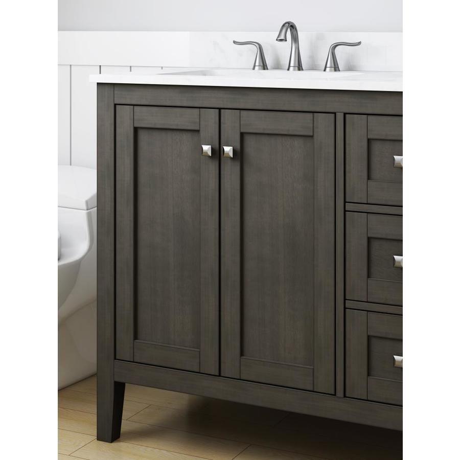 Allen Roth Everdene 36 In Grey Undermount Single Sink Bathroom Vanity With Carrera White Engineered Stone Top Lowes Com Single Sink Bathroom Vanity Bathroom Vanity Vanity 36 inch gray bathroom vanity