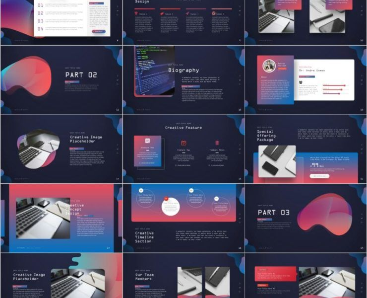 36 Multicolor Attractive Powerpoint Template Business