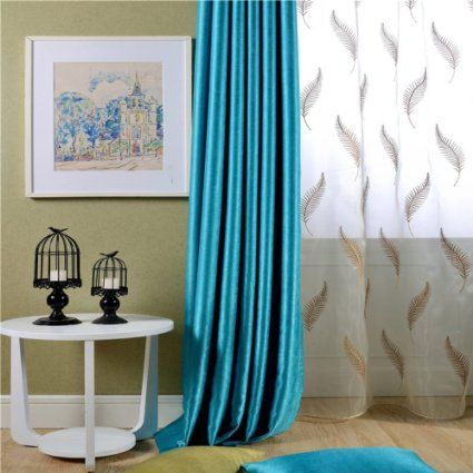 Amazon KoTing Home Fashion Modern Solid Blue Pearl Velvet Print Thermal Insulated Room