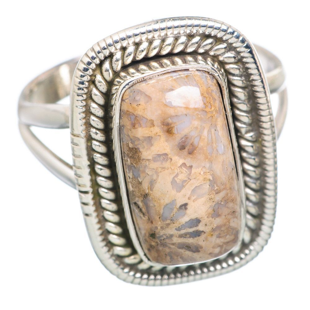 Rare Fossil Coral 925 Sterling Silver Ring Size 8.75 RING703275