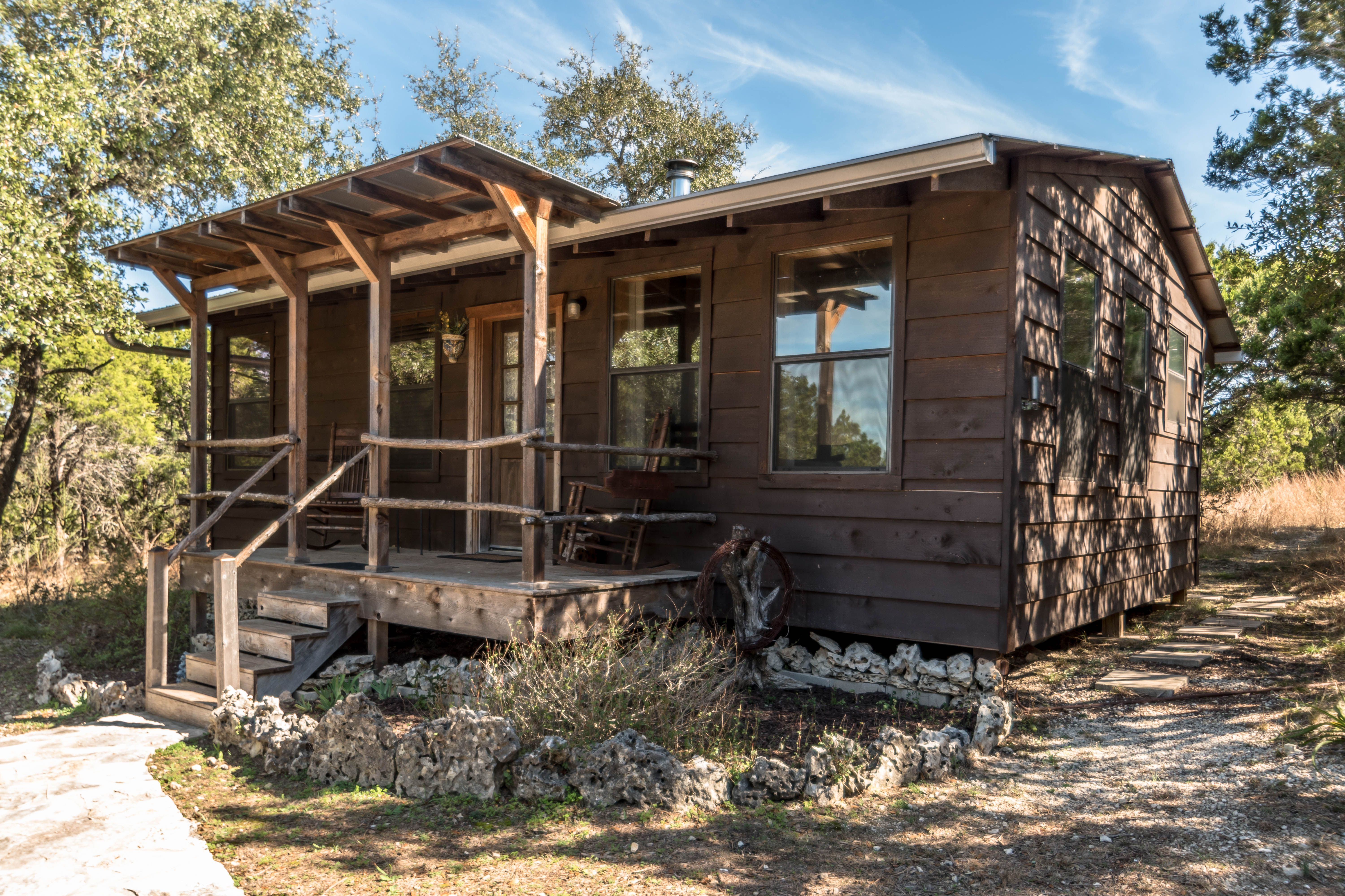 Experience The Stunning Texas Hill Country By Renting This Lovely Cabin Near Wimberley Texas Cabins In Texas Pet Friendly Cabins Secluded Cabin