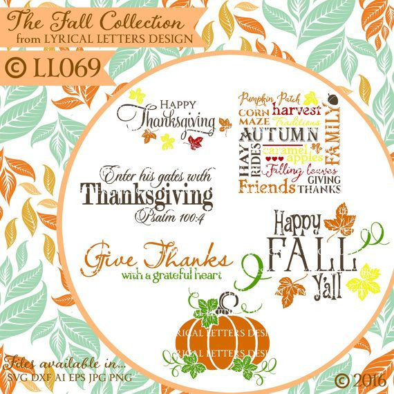 Fall Autumn Thanksgiving Pumpkin Ll069 Collection Svg Dxf Fcm Ai Eps Png Jpg Digital File For Commercial And Personal Use Letter S Designs Lettering Design Used Vinyl