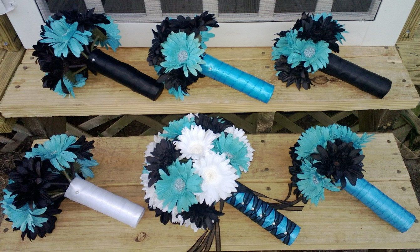 Daisy Bouquet, Daisy 15 Piece Set, Black Turquoise Daisy