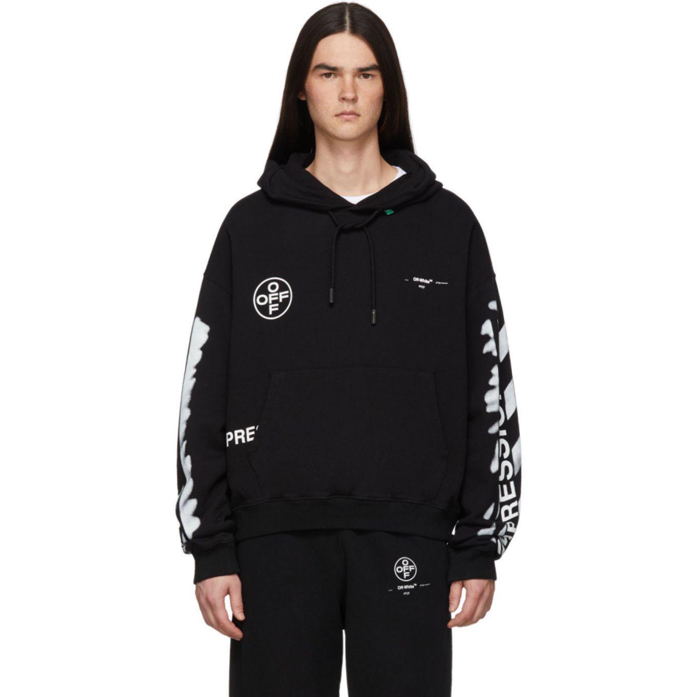 Off White Ssense Exclusive Black Impressionism Diag Stencil Hoodie Mens Sweatshirts Fashion Outfit Accessories [ 1360 x 1360 Pixel ]