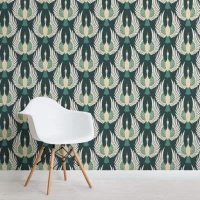 Green Art Deco Crane Pattern Wallpaper Mural in 2020 (With