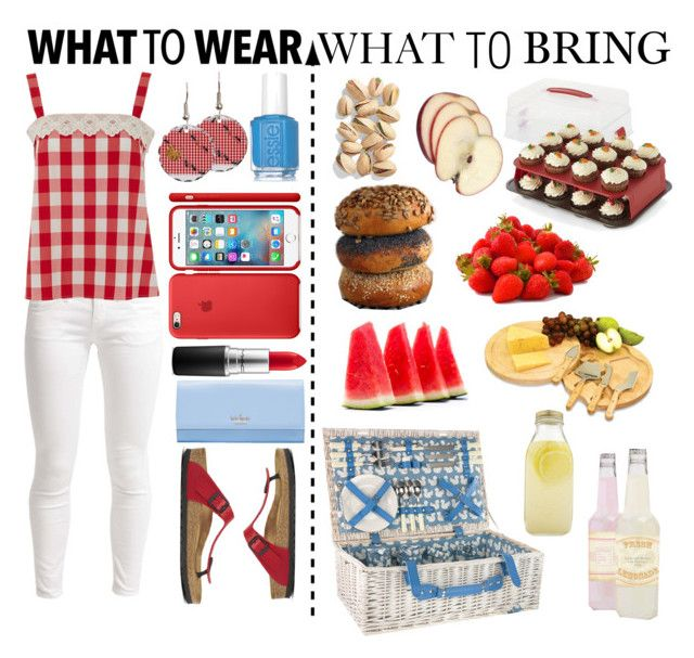"""""""Picnic"""" by sewing-girl ❤ liked on Polyvore featuring Anorak, Benetton, Lowie, Essie, Birkenstock, MAC Cosmetics, Kate Spade, Bormioli Rocco, Picnic Time and Crate and Barrel"""