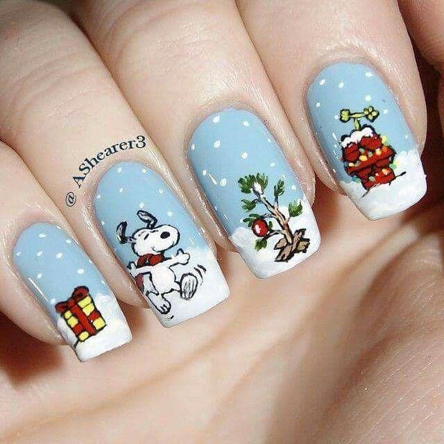 Snoopy Christmas Nails Cute Christmas Nails Christmas Nail Designs Christmas Nails