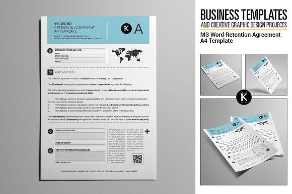MS Word Retention Agreement A4 by Keboto on @creativemarket - agreement in word