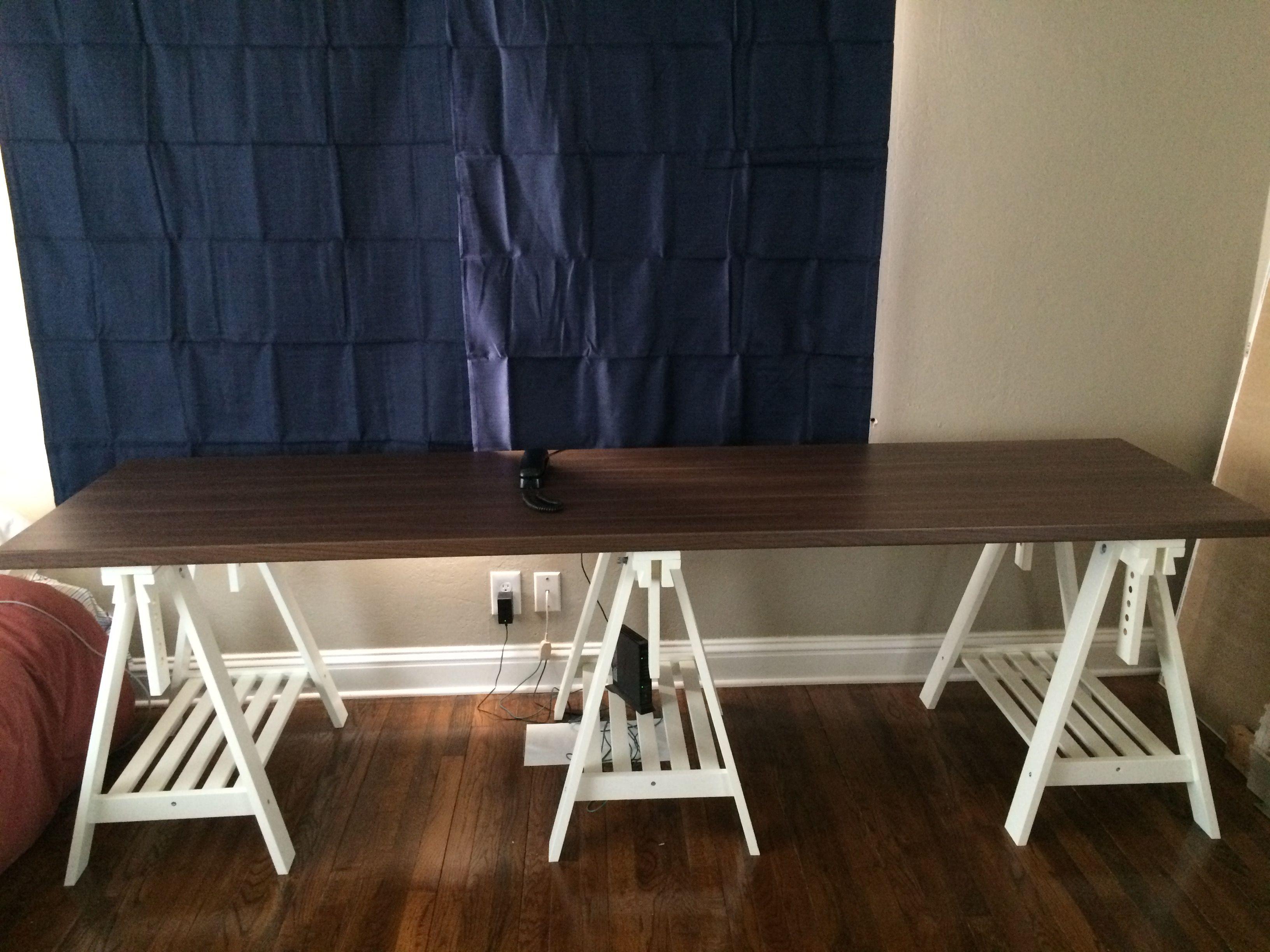Ikea Kallax Countertop Desk Finnvard Trestle Adjustable Table