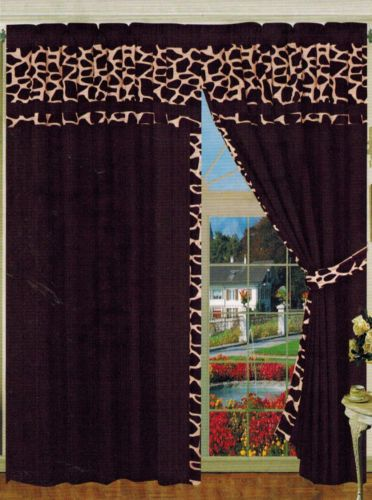 Dark brown giraffe micro-suede window curtains with tiebacks