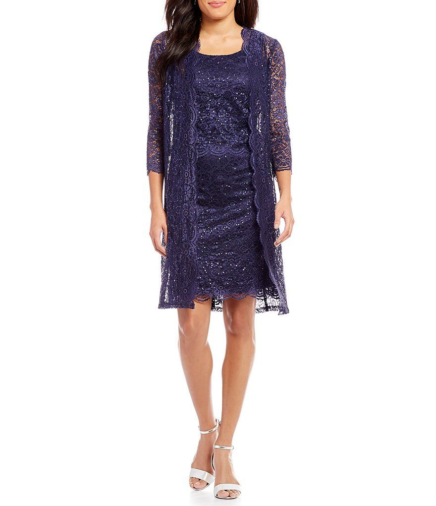 bfff334c08d R   M Richards 2-Piece Scalloped Lace Jacket Dress