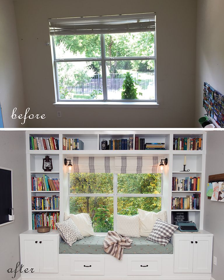 Before & After book nook. windowseat booknook bookshelf