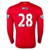 15-16 Liverpool Football Shirt Cheap INGS #28 Long Sleeve Home Replica  Jersey [