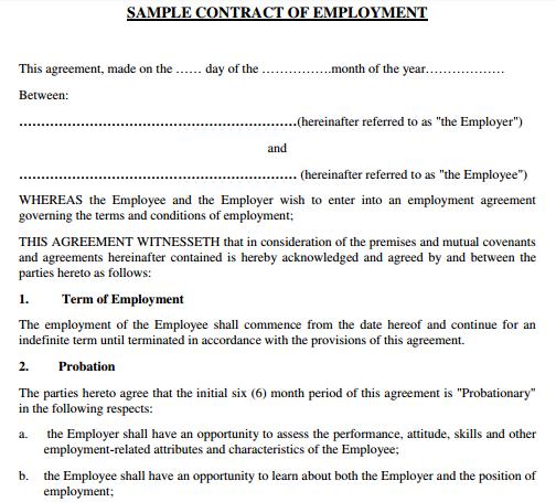 Standard Employment Agreement Contract Template Rental Agreement Templates Employment