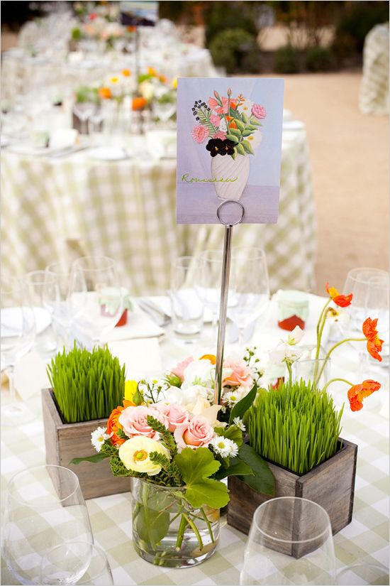 Art inspired wedding at brix restaurant and garden floral centerpieces pinterest orange - Restaurant decor supplies ...