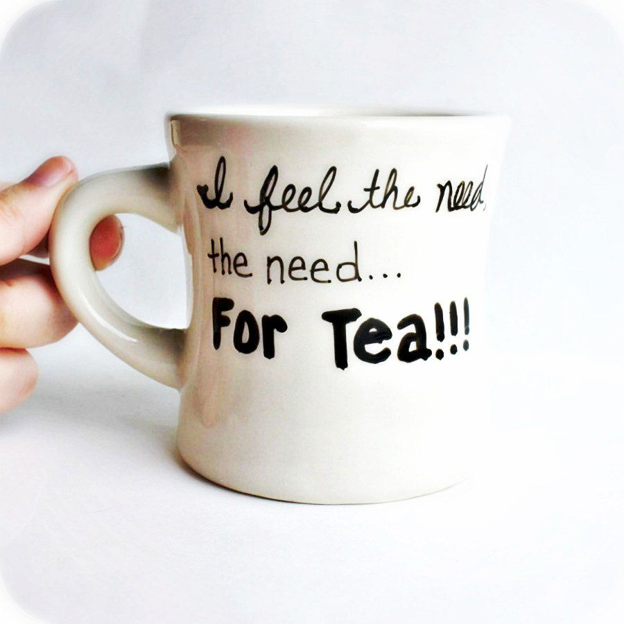 Funny Mug tea cup diner mug black white Need for Tea caffeine addict gag gift novelty mug. $12.00, via Etsy.