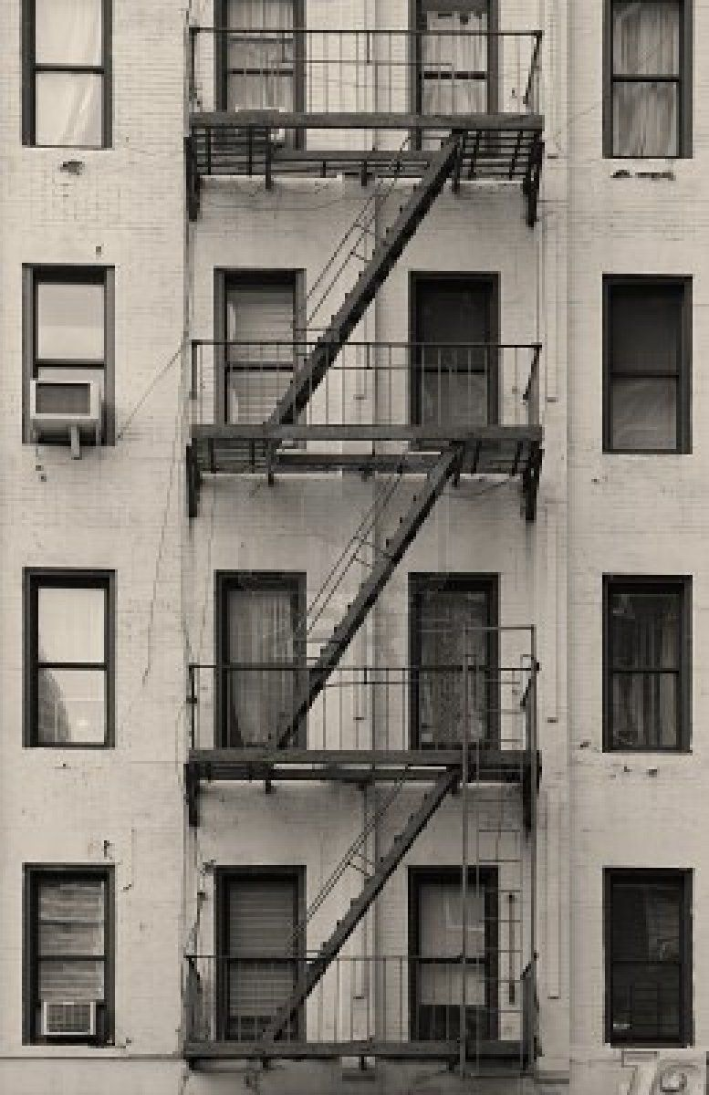 New York City Apartment Stairway Black And White Stock Image   Image:  19215957