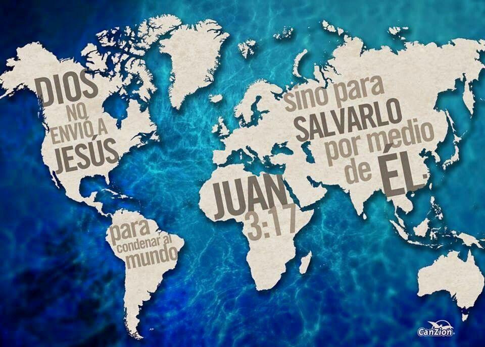 Juan 3:17 Porque no envió Dios a su Hijo al mundo para condenar al mundo, sino para que el mundo sea salvo por él. ♔
