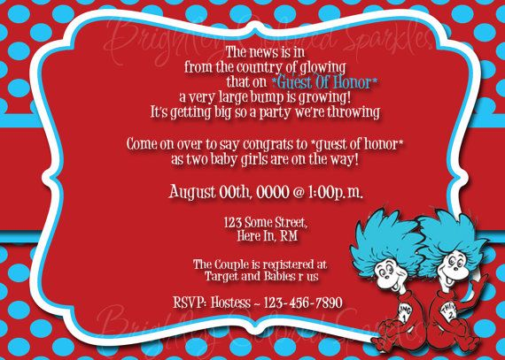Good Thing 1 Thing 2 Baby Shower Invitation By Brightleycolored On Etsy, $10.00