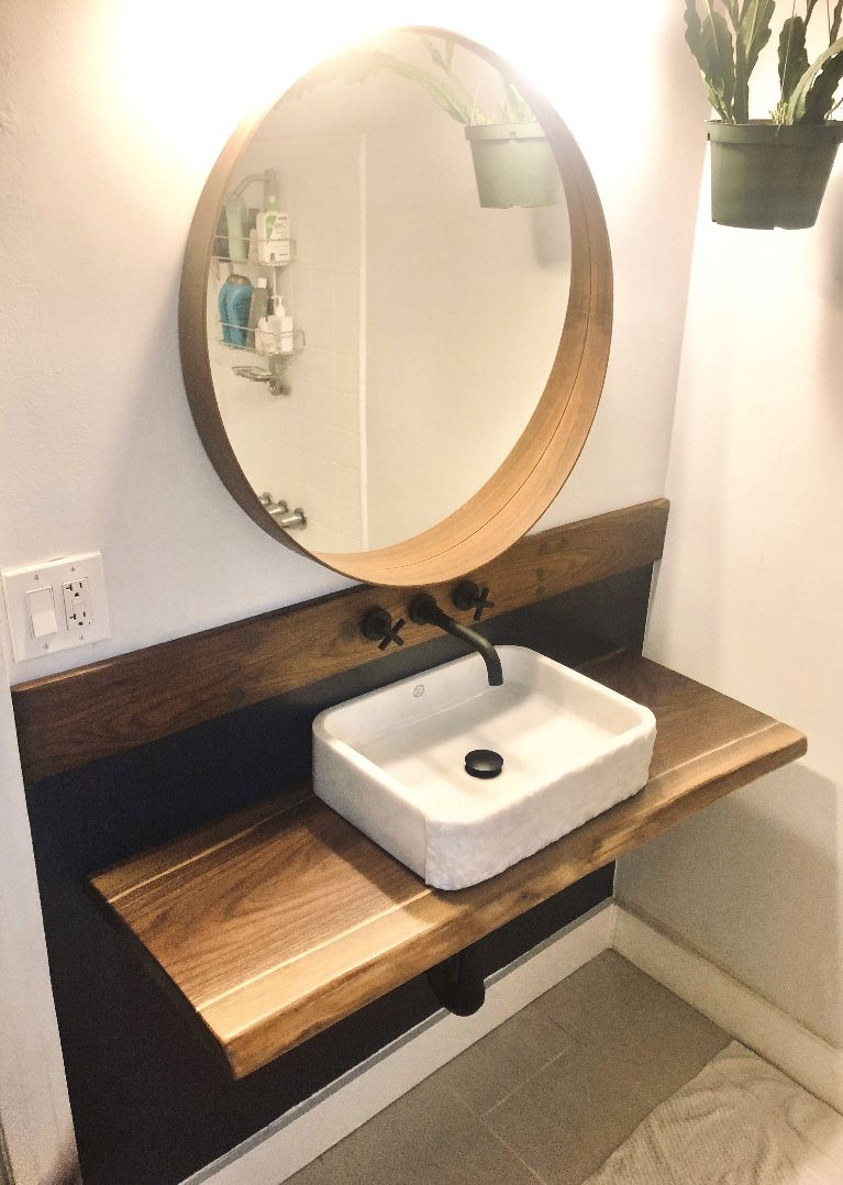 Live Edge Vanity For Basin Sink Or Wall Mounted Floating Vessel Sink Raw Walnut Table In 2020 Basin Sink Vanity Bathroom Inspiration