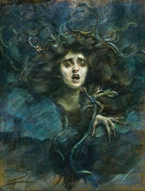 Medusa Laura Dreyfus Barney, depicted as Medusa by her mother, painter Alice Pike Barney (1892). Laura's sister was the noted art patron Natalie Barney. All three women were remarkable, and quite ahead of their time.