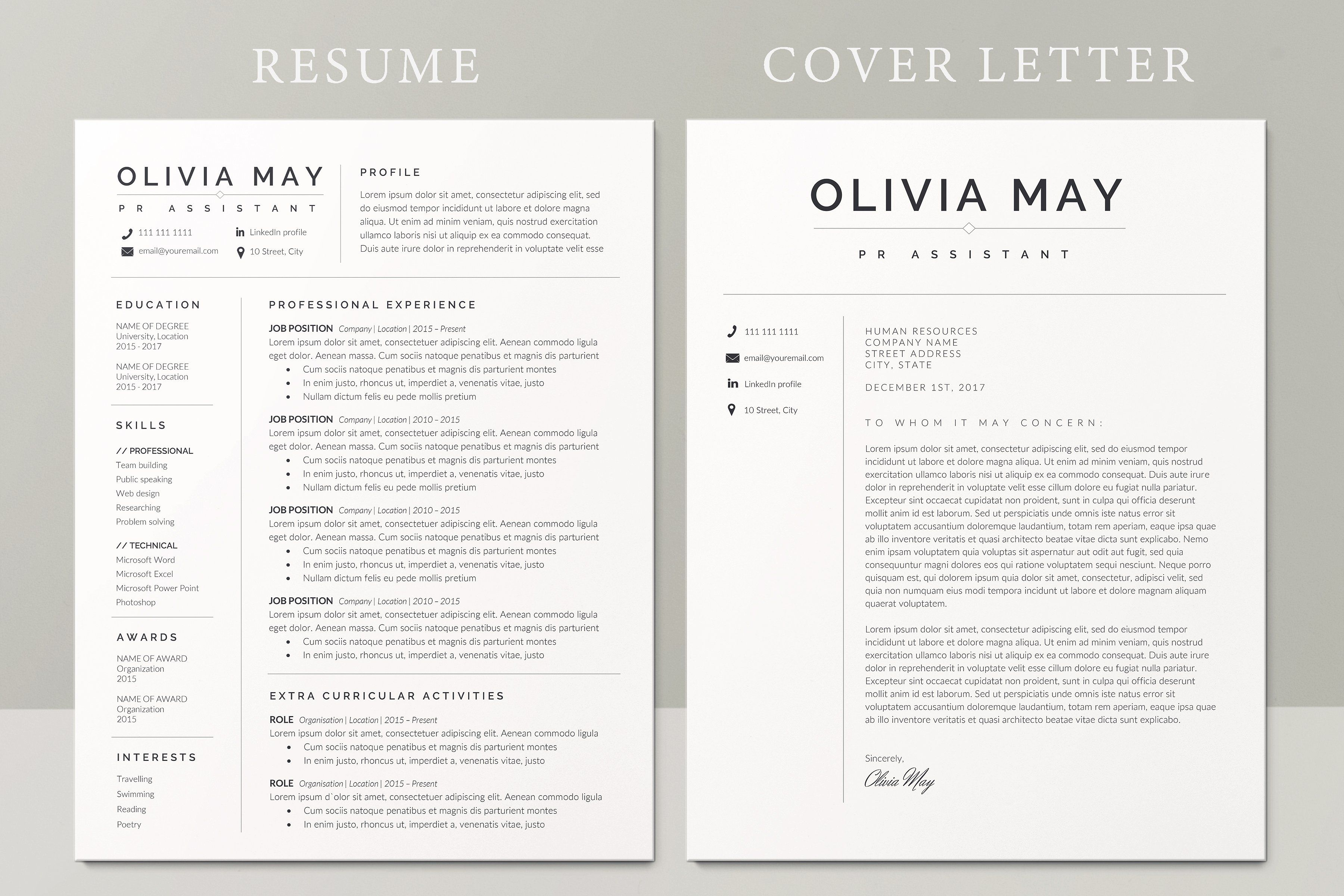 Resume Template Bundle Cv Template Resume Page Letter One