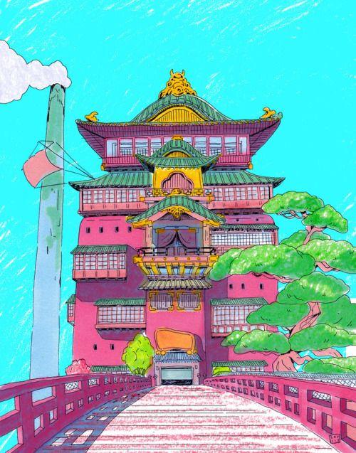 "sarlisart ""bathhouse "" Studio ghibli, Animation"