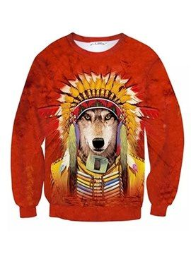 b30df4b009a4 Long Sleeve Tribal Chief Wolf Pattern Inner Suede 3D Painted Hoodie ...