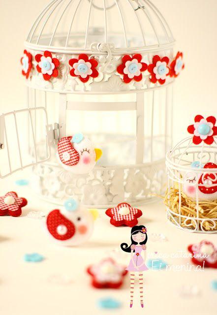 Ei Menina!: Passarinhos e flores para a festa da Chapeuzinho Vermelho