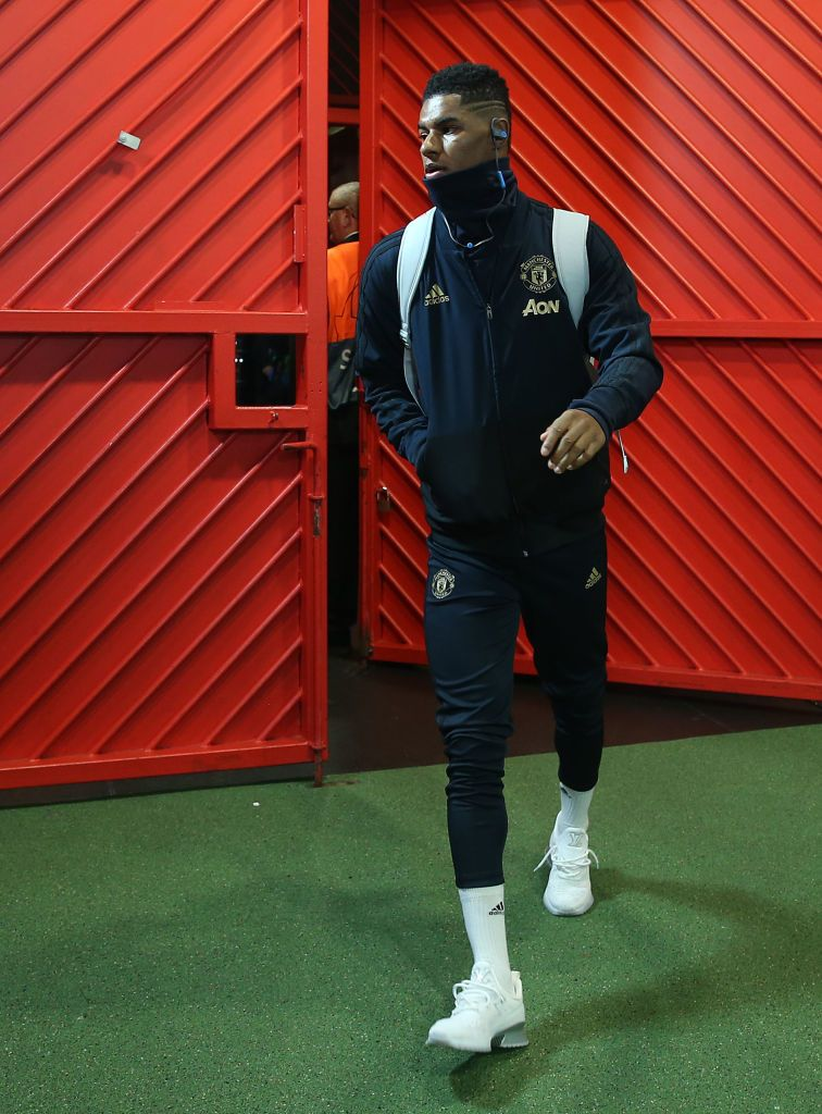 Marcus Rashford of Manchester United arrives ahead of the