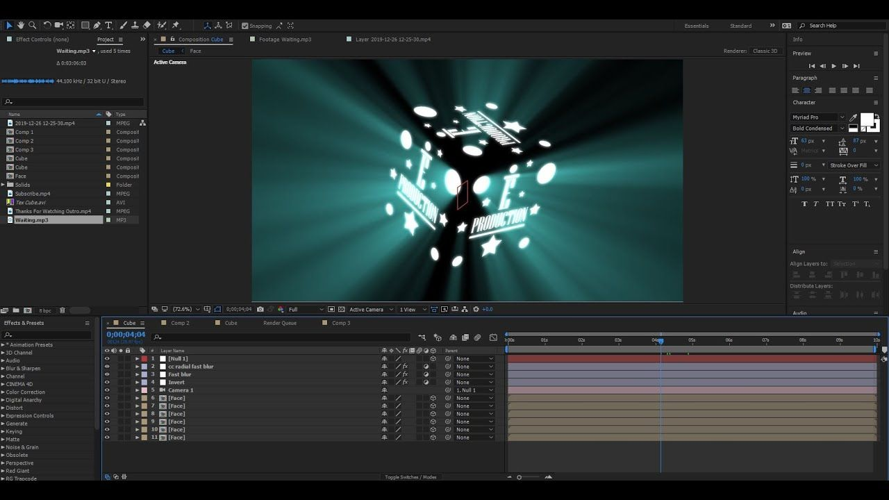 How To Make 3d Cube Animation Tutorial After Effects Cc No Plugins Req Animation Tutorial Tutorial 3d Cube
