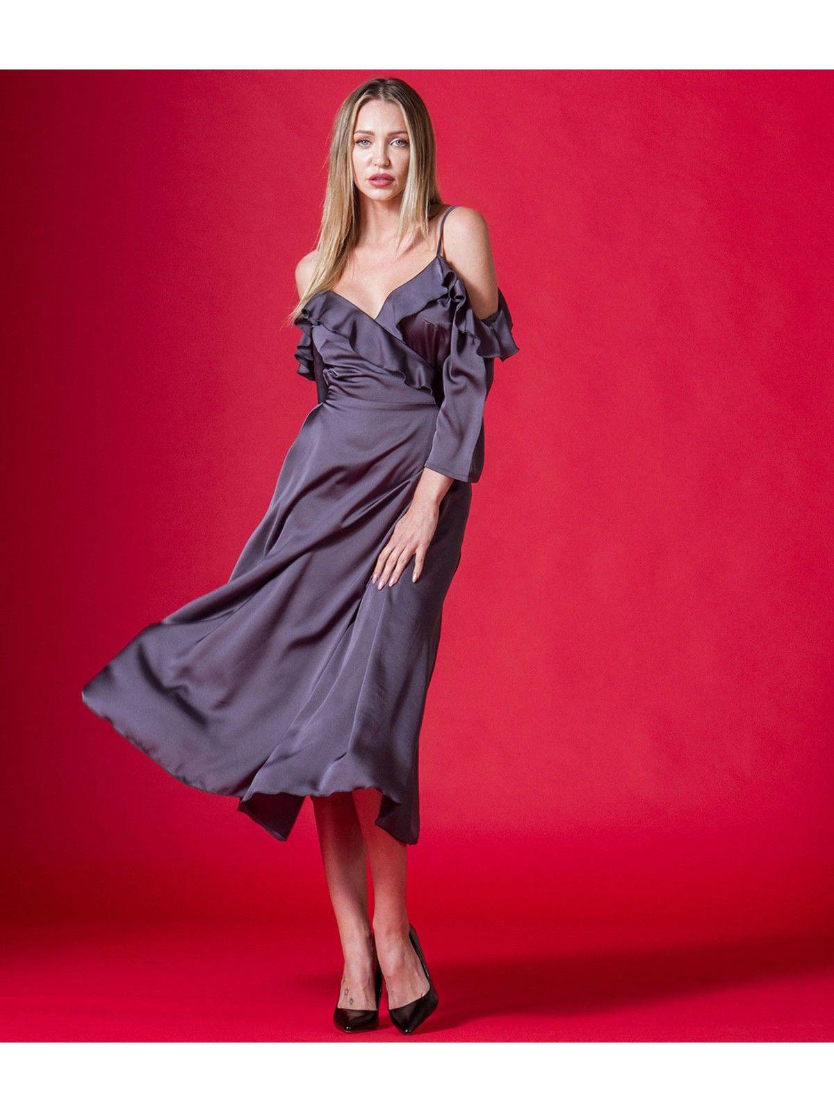 fadfa8819b70 Φόρεμα Midi Κρουαζέ Έξωμο με Βολάν Ραντάκι και Μανίκια - Γκρι-Ανθρακί