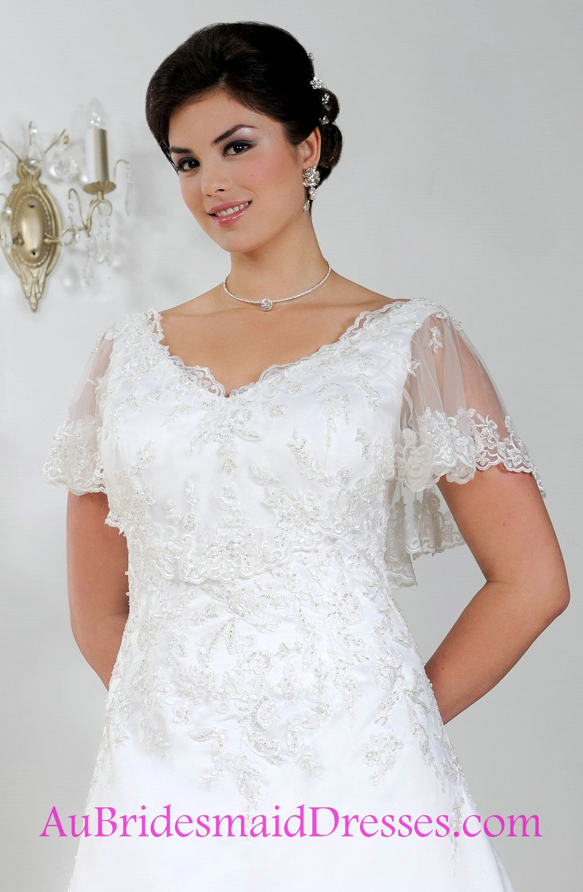 A Line Lace Plus Size Wedding Dresses With Caplet Sleeves